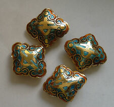 4 Ornate Diamond-shaped Cloisonne Character Beads,Blue/Gold/Amber 17 x 20 mm