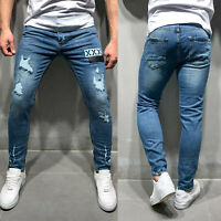 Men Long Skinny Jeans Ripped Slim fit Stretch Denim Distress Frayed Biker Basic