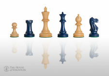 """The Grandmaster Chess Set - Pieces Only - 4.0"""" King -  Blue Gilded"""