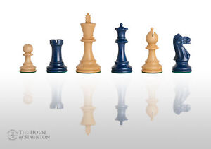 "The Grandmaster Chess Set - Pieces Only - 4.0"" King -  Blue Gilded"