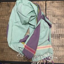Maasai Mara NEW pink blue striped cotton Kikoy pareo shawl wrap scarf Kenya