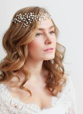 Bridal Pearls Hair Vine Headband Tiara Comb Wedding Rhinestone Pin Crown