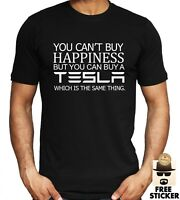 Tesla T-shirt Can't Buy Happiness Funny Men's Elon Musk Car Gift Tee Top S - 4XL