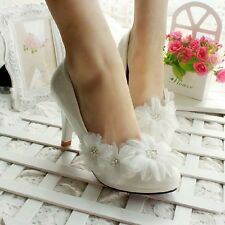 Pearl Flower White Wedding Bridal shoes Prom High Heels Mary Evening Party Lace