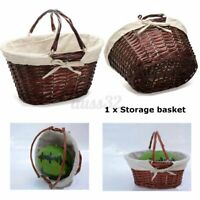 Hamper Basket Brown Oval Hand Woven Willow Wicker Storage Picnic Shoppin