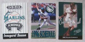 BASEBALL SCHEDULES: 1993 Miami Marlins FIRST YEAR+1996 Marlins+2003 Orlando Rays