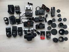 Lot of 5 vintage 35mm Slr & 2 point/shoot film cameras w 50mm Prime lens +extras