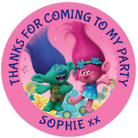 48 Personalised TROLLS  Party Bag Stickers Sweet Bag Seals Cone Labels 40mm