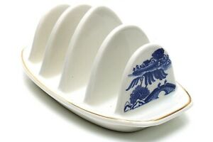 VINTAGE RINGTONS BY WADE BLUE AND WHITE TOAST RACK