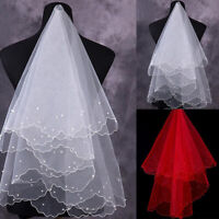 Romantic White Pearl Veil Bridal Elbow Short Satin One-Layer Veil Wedding Party#