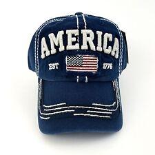 Vintage America Flag Baseball Cap 100% Cotton Distressed Curved Visor Hat Washed