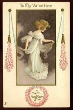 Valentine Costume embossed Love Greetings Tuck 129 Vintage PPC Art Nouveau