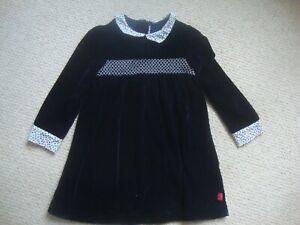 Little Bird by Jools Oliver girl's navy velvet dress age 2-3 - smocked, collar