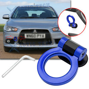 For Mitsubishi Lancer JDM Blue Sport Track Style Dummy Tow Hook Ring Look Decor