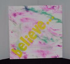 """believe..."" canvas,yellow,green,purple, wall hanging,decor,bedroom,living room"