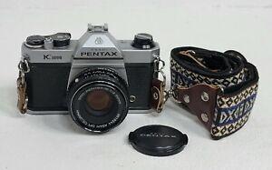 Pentax K1000 35mm SLR Film Camera with 50mm Manual Focus Lens & Vtg Camera Strap