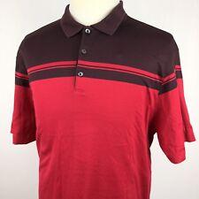 e5b0137a Nike Tiger Woods Polo Golf Shirt XL TW Red Brown Striped Cotton Blend