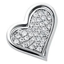 "14K Solid White Gold 0.25ct Diamond Pave Love Heart Pendant Charm 5/8"" 0.8 grams"