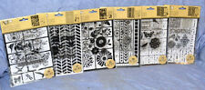 Momenta Art C Lot: 6 sets Clear Stamps & Stencils; Alphabet / Flowers / Design