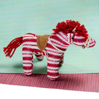 Mini Red Striped Knit Zebra Horse Pony Stuffed Animal Yarn Plush Toy with Saddle