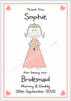 THANK YOU BRIDESMAID PERSONALISED CARD FLOWER GIRL MAID OF HONOUR A5 MULTI