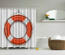 Nautical Life Ring Beach Shower Curtain Boat Preserver Rope Nautical Bath Decor