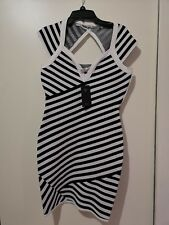 Guess dress size S black and white stripe bodycon RRP 169.95