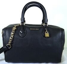 Michael Michael Kors Grayson Black Pebbled Leather Satchel Bag