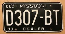 "1990 MISSOURI NEW USED CAR AUTO  DEALER LICENSE PLATE "" D 307 BT "" MO 90"