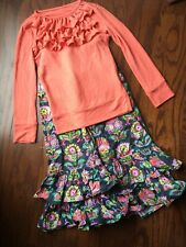 Girls Size 8 Persnickety Top With Matching Ruffled Pants Size 7.