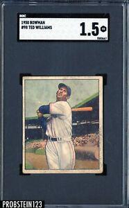 1950 Bowman #98 Ted Williams Boston Red Sox HOF SGC 1.5 Fair