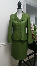 Womens ALBERT NIPON Green Silk Blend Jacquard Brocade Textured Skirt Suit 6