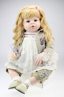 "28"" Silicone Vinyl Toddler Bebe Reborn Baby Girl Doll Likelife Newborn Toys Gift"