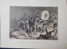 Confederates Retreat Battle of Shiloh Civil War Original Antique Print 1878