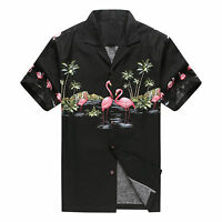 Made in Hawaii Men Hawaiian Aloha Shirt Luau Beach Cruise Pink Flamingos Black