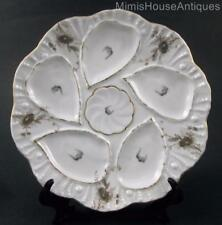 Antique OYSTER PLATE(s) - Gold Trim 5 WELL floral, embossed - Carlsbad, Austria