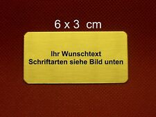 Namensschild, Messing poliert 6,0 x 3,0  x 0,06 cm mit Gravur selbstklebend