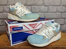 NEW BALANCE 580 LADIES UK 3 EU 36 WHITE BLUE SUEDE REVLITE TRAINERS RRP £85