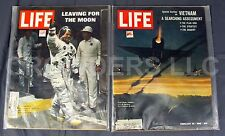 2x Life Magazine 2/25/66 Vietnam Searching Assessment & 7/25/69 Leaving for Moon