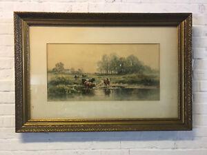 Antique Carl Philipp Weber German PA Artist Signed Watercolor Pastoral Landscape