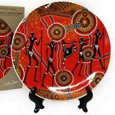 "Australia Souvenir Display Plate Aboriginal Dot Kangaroo Art of the Land 7.5"""