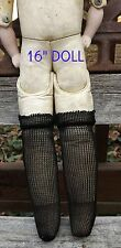 "Antique 7"" Bisque Doll Stockings Black Rayon Open Weave DOLL HOSE SOCKS"