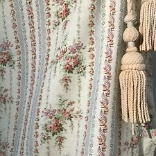 Antique / Vintage  French Printed cotton & Linen fabric Rose stripe Dolls Decor
