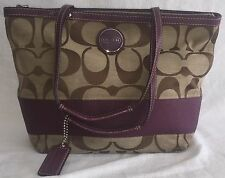 COACH PLUM / KHAKI SIGNATURE STRIPE ZIP TOTE BAG HANDBAG PURSE F15112 EUC