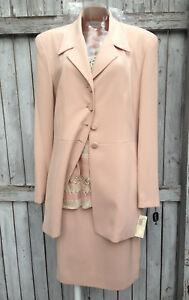 TAHARI 3-Piece Suit  NWT $700 ~ Jacket  ~ Skirt ~ Vest ~ Color: Nude Blush 10 12