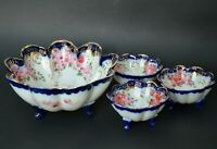 Set of 4 bowls Japan porcelain hand painted flow blue footed fruit nut dishes