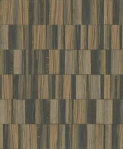 York Wallcoverings MM1703 Mixed Materials Gilded Wood Tile Black/Gold