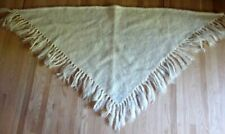 Glen Cree Mohair Triangle Cream White Shawl Made in Scotland Fringed Capelet