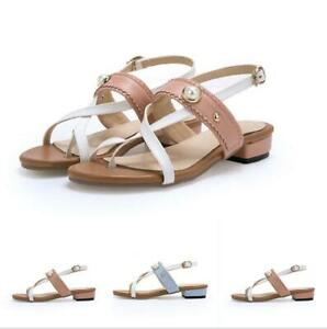 Plus Size 33-46 Womens Clip Toe Thong Sandals Ankle Strap Slingback Pearl Decor