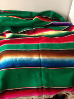 Southwestern design  throw blanket 50 x 60 Striped Bright Colors Fringed